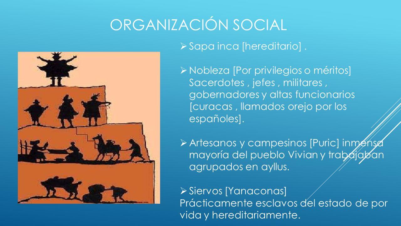 Organización social Sapa inca [hereditario] .